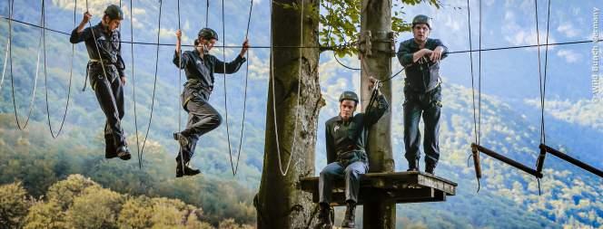 Die vier Kollegen bei ihrem Team-Workshop im Wald.